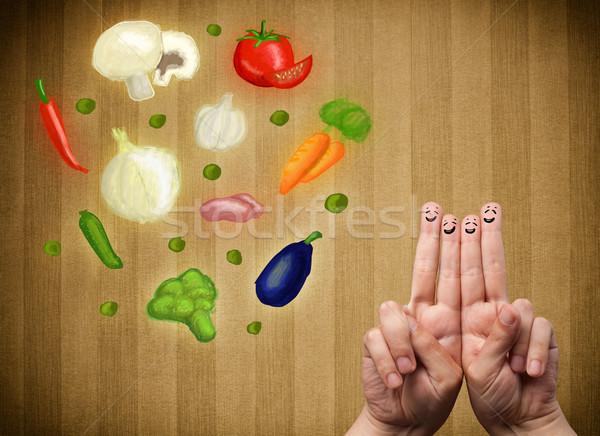 Gelukkig vingers naar illustratie kleurrijk Stockfoto © ra2studio