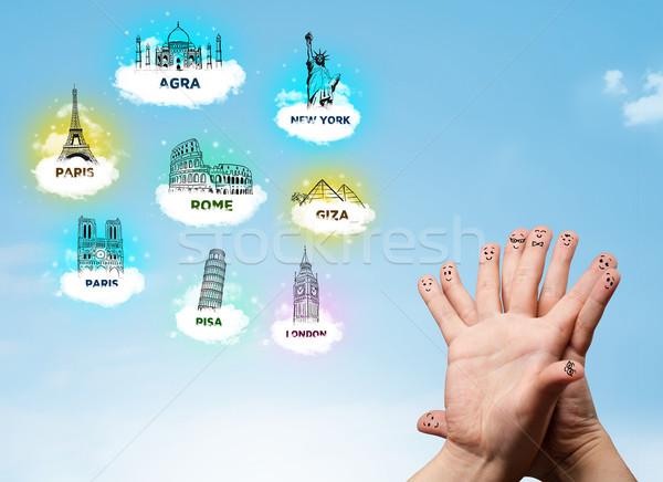 Parmak suratlar gezi simgeler mutlu Stok fotoğraf © ra2studio