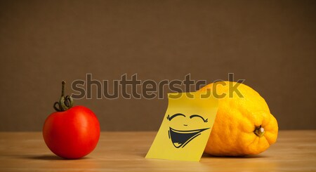 Lemon with post-it note sticking out tongue to tomato Stock photo © ra2studio