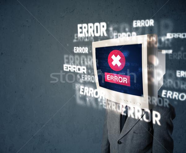 Photo stock: Homme · d'affaires · pc · suivre · tête · erreur · messages