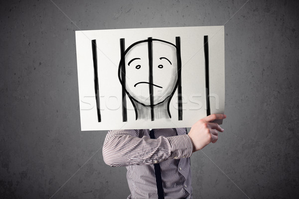 Imprenditore carta prigioniero dietro bar Foto d'archivio © ra2studio