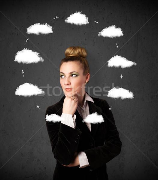 мышления облаке вокруг голову Сток-фото © ra2studio