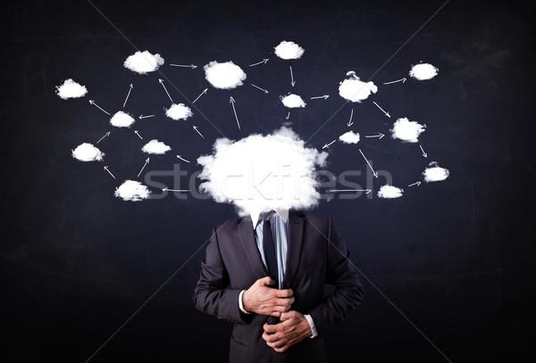 ビジネスマン クラウドネットワーク 頭 地図 技術 ストックフォト © ra2studio