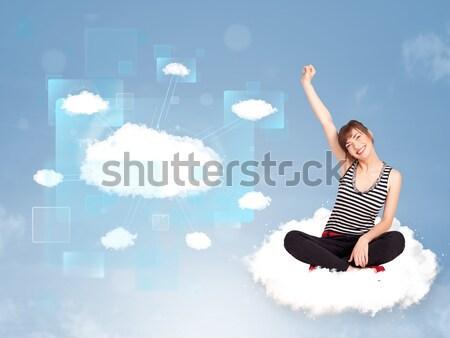 Jonge vrouwen vergadering wolk exemplaar ruimte mooie meisjes Stockfoto © ra2studio