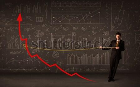 ストックフォト: ビジネスマン · 赤 · 矢印 · ロープ · 男