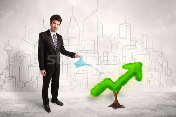 Business man watering green plant arrow  Stock photo © ra2studio