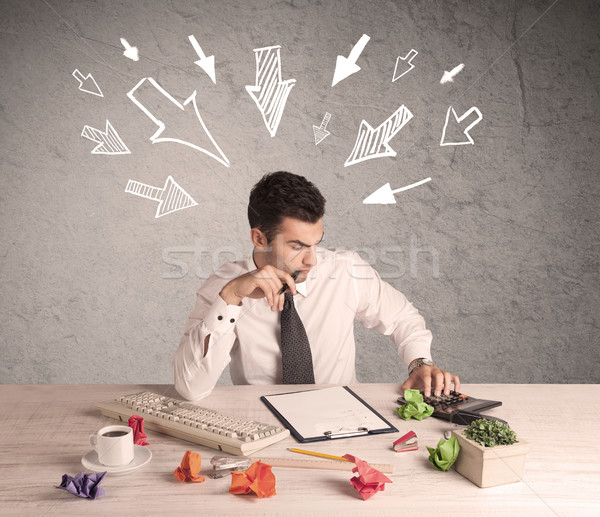 Busy office worker with drawn arrows Stock photo © ra2studio