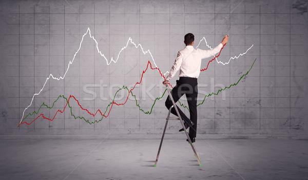 мужчины лестнице рисунок диаграммы линия парень Сток-фото © ra2studio