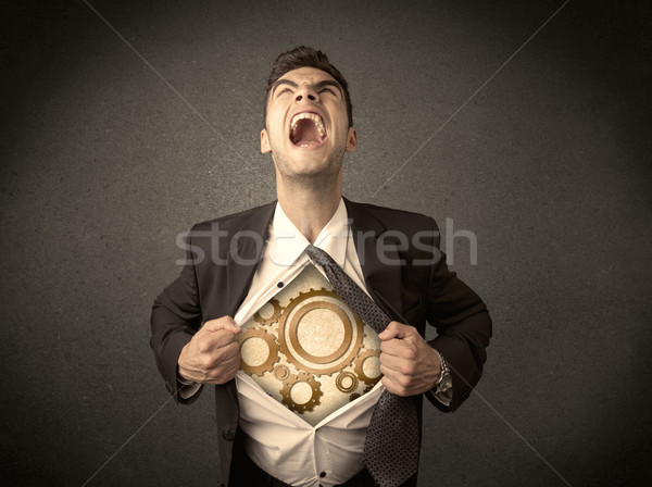 Affaires shirt machine Cog roue Photo stock © ra2studio