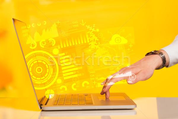Nowoczesne notebooka komputera przyszłości technologii symbolika Zdjęcia stock © ra2studio
