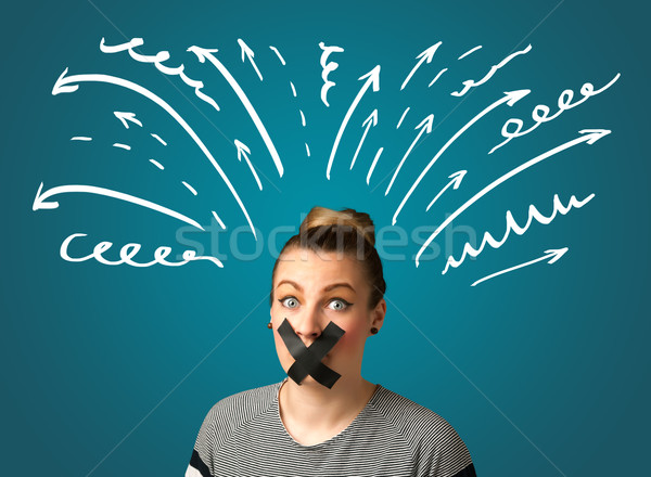 Stock photo: Young woman with glued mouth
