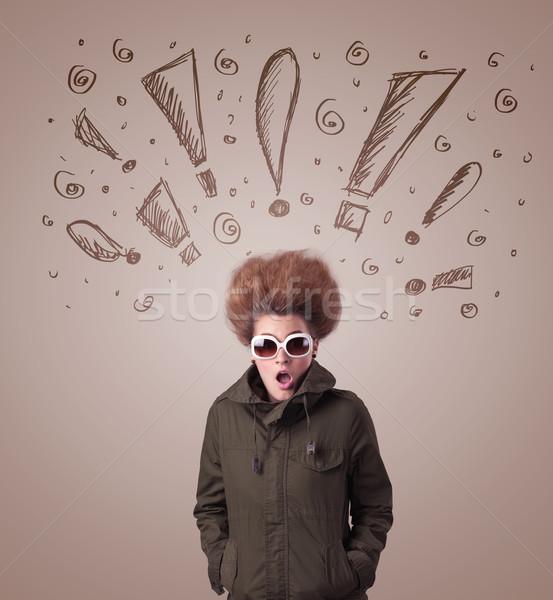 Genç kadın işaretleri saç arka plan Stok fotoğraf © ra2studio