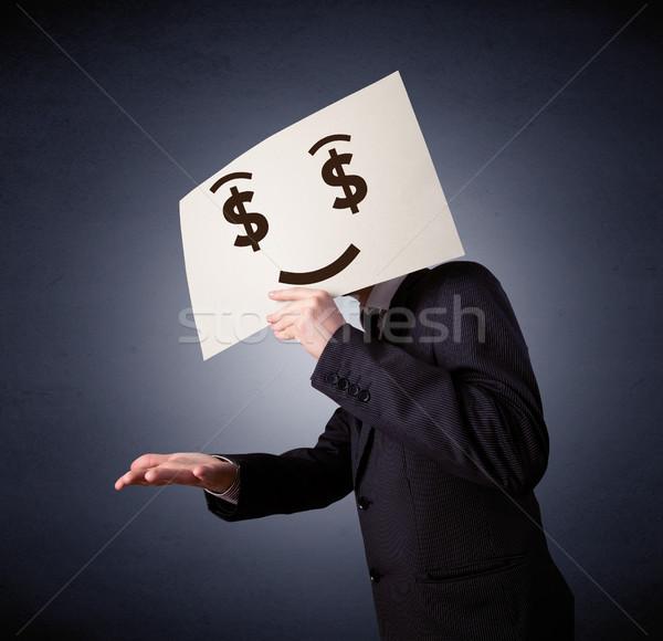 Empresário papel ganancioso emoção jovem Foto stock © ra2studio