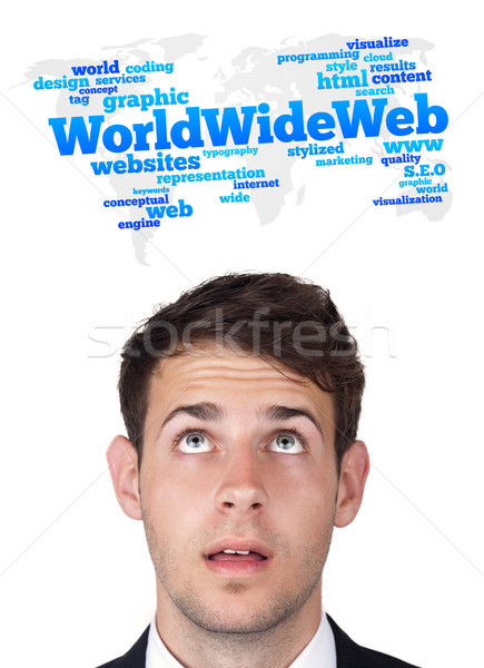 Young head looking at internet type of icons Stock photo © ra2studio