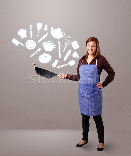 Zdjęcia stock: Młoda · kobieta · kuchnia · ikona · dość · młodych