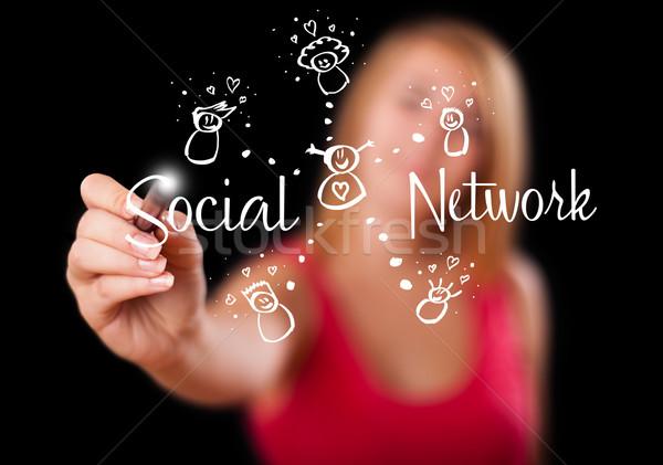 Photo stock: Femme · réseau · social · jeune · femme · internet · réunion