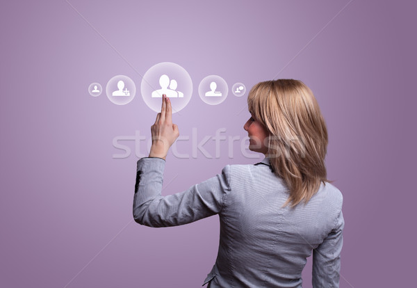 стороны икона женщину бизнеса Сток-фото © ra2studio