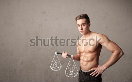 тощий парень сбалансированный смешные человека спортзал Сток-фото © ra2studio