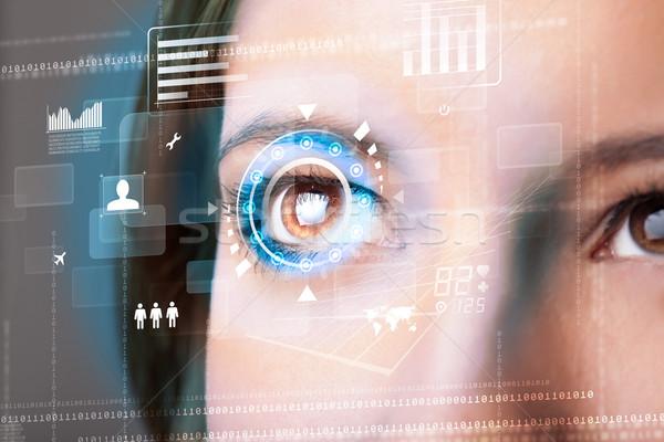 будущем женщину технологий глаза панель компьютер Сток-фото © ra2studio