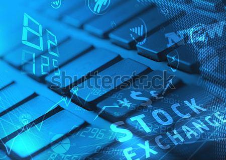 Billentyűzet izzó ikonok számítógép billentyűzet technológia munka Stock fotó © ra2studio