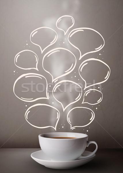 Coffee mug with hand drawn speech bubbles Stock photo © ra2studio