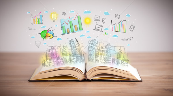 drawing of a business scheme on an opened book Stock photo © ra2studio