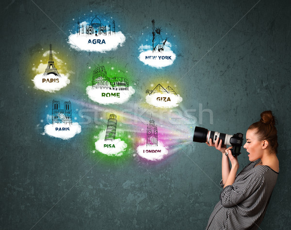 Tourist photographer making images of famous places around the w Stock photo © ra2studio