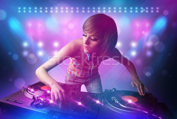 диск-жокей музыку вертушки этап фары довольно Сток-фото © ra2studio