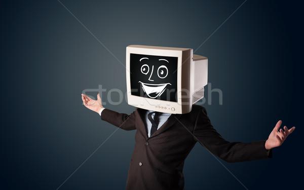 Zdjęcia stock: Szczęśliwy · biznesmen · pc · monitor · głowie