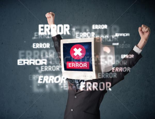 Homme d'affaires pc suivre tête erreur messages Photo stock © ra2studio