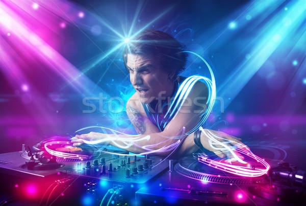 Energetische Musik mächtig Lichteffekte jungen Party Stock foto © ra2studio