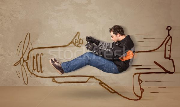 смешные экспериментального вождения рисованной самолет стены Сток-фото © ra2studio