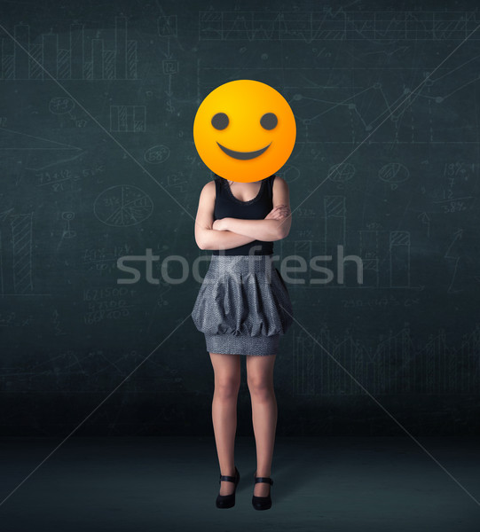 Stockfoto: Zakenvrouw · Geel · grappig · business · hand