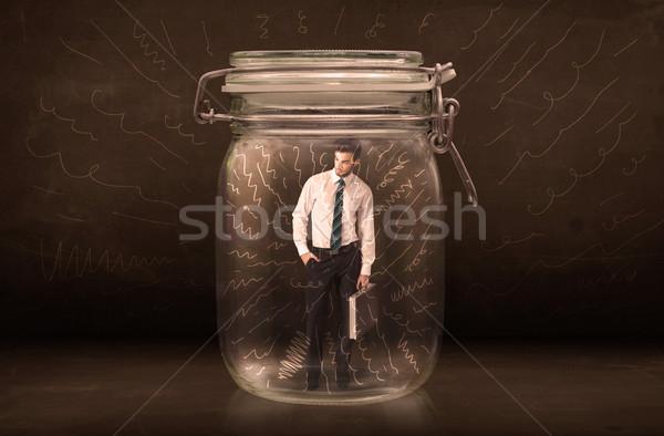 Empresario dentro jar potente dibujado a mano líneas Foto stock © ra2studio