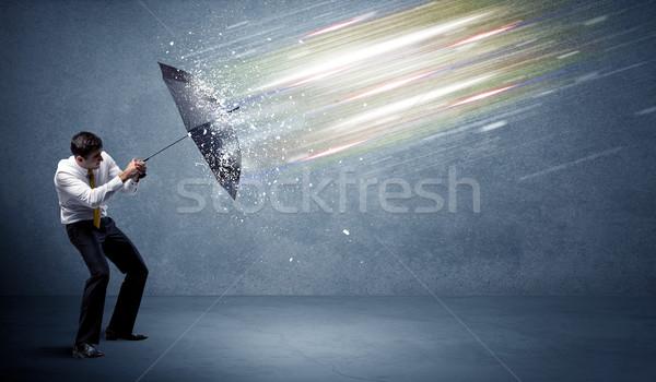Iş adamı ışık şemsiye iş su çalışmak Stok fotoğraf © ra2studio