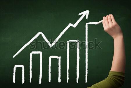 Main dessin graphique tableau noir augmenté graphique Photo stock © ra2studio