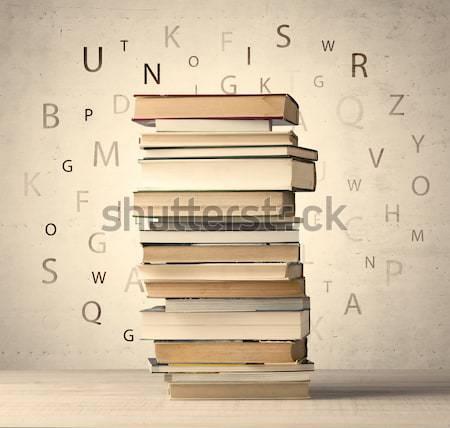 図書 飛行 文字 ヴィンテージ 古い 紙 ストックフォト © ra2studio