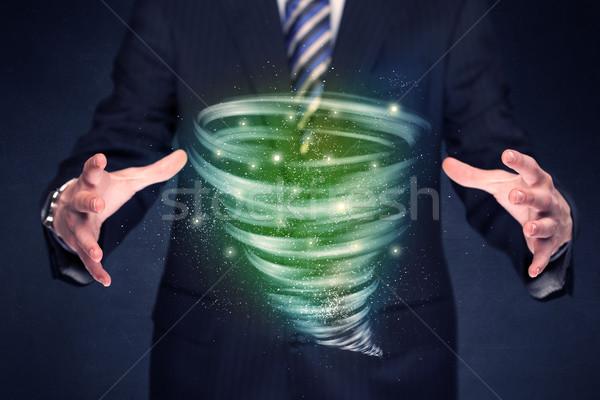 бизнесмен зеленый торнадо ярко рук Сток-фото © ra2studio