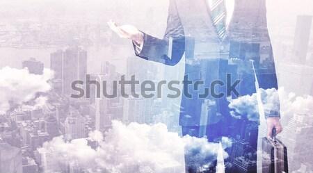 Biznesmen stałego górskich graficzne myślenia działalności Zdjęcia stock © ra2studio
