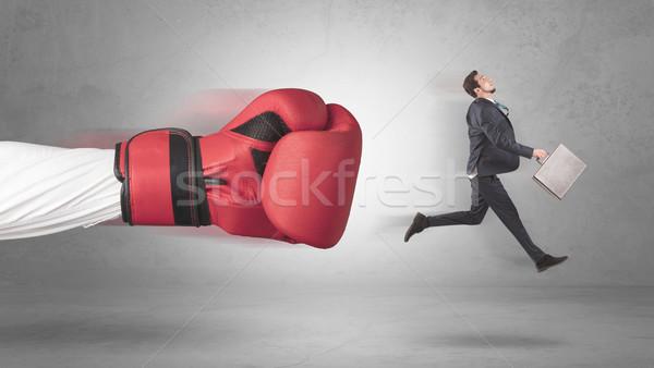 Imprenditore gigante mano guantoni da boxe business sfondo Foto d'archivio © ra2studio