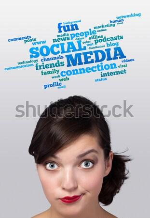 Giovani testa guardando sociale tipo icone Foto d'archivio © ra2studio