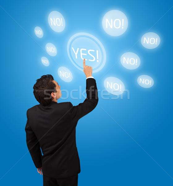 Iş adamı dokunmatik ekran düğme evet iş Stok fotoğraf © ra2studio