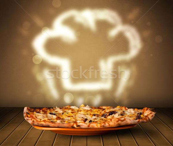 пиццы повар Кука Hat пар Сток-фото © ra2studio