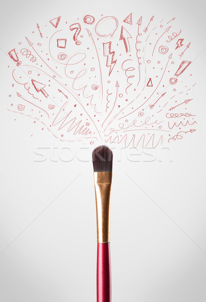 Stock photo: Brush close-up with sketchy arrows
