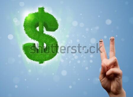 Feliz dedos mirando hoja verde signo de dólar Foto stock © ra2studio