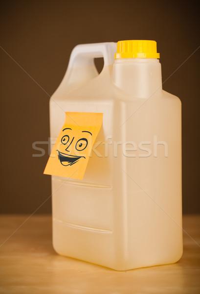 Stock fotó: Jegyzet · mosolygós · arc · konzerv · rajzolt · papír · boldog