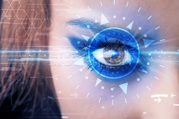 Сток-фото: девушки · глаза · глядя · синий · Iris · современных