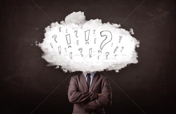 Iş adamı bulut kafa soru iş bilgisayar Stok fotoğraf © ra2studio