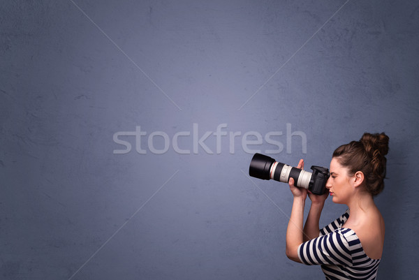 Fotós lövöldözés képek copy space lány film Stock fotó © ra2studio