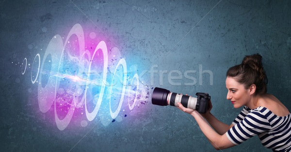 Photographe fille Photos puissant lumière Photo stock © ra2studio